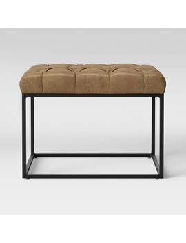 Trubeck Tufted Ottoman Faux Leather With Metal Base Brown   Project 62™ by Project 62