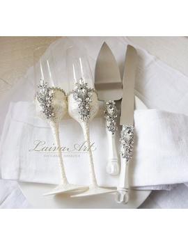 Wedding Champagne Glasses Cake Server Set Wedding Flutes Cake Server Wedding Toasting Flutes Set Of 4 by Etsy