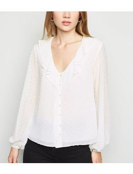 Off White Chiffon Spot Frill Button Blouse by New Look