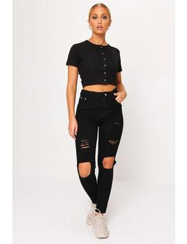 Black High Waist Distressed Skinny Jeans by I Saw It First