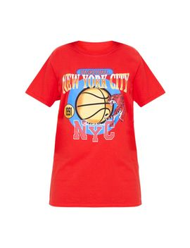 Red Nyc Basketball Slogan Tshirt by Prettylittlething