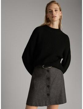 Kort, Ulden Nederdel Med Knapper by Massimo Dutti