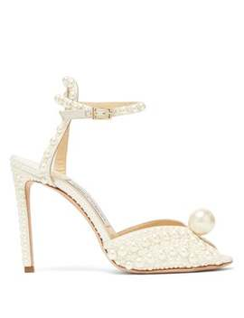 Sacora 100 Pearl Embellished Satin Sandals by Jimmy Choo