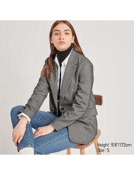 Giacca Blazer Lunga Tweed A Quadri Donna by Uniqlo