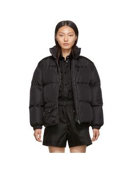 Black Down Belt Bag Coat by Prada