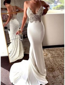 White Patchwork Lace Bronzing Cross Back Deep V Neck Mermaid Spaghetti Straps Wedding Prom Party Maxi Dress by Cichic