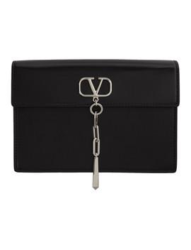 Black Valentino Garavani Small V Logo Pouch by Valentino