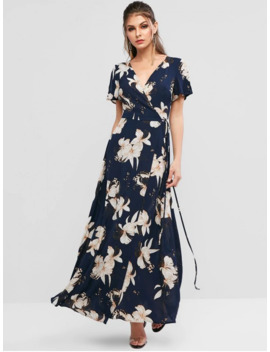 Hot Salezaful Spilt Sleeve Floral Print Maxi Wrap Dress   Deep Blue S by Zaful