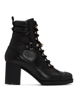 Black Valentino Garavani Rockstud Heeled Combat Boots by Valentino