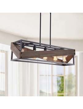 Bernice Antique Black Rectangular Metal And Wood Pendant Chandelier by The Lighting Store