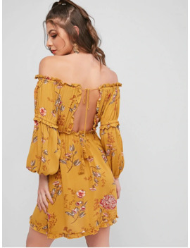 Hot Sale Tassels Tied Back Off Shoulder Floral Dress   Yellow M by Zaful