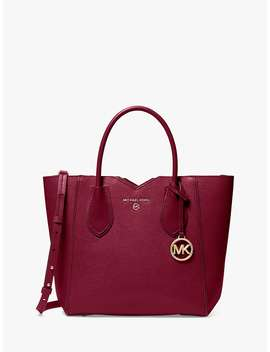 Michael Michael Kors Mae Medium Leather Messenger Tote Bag, Berry by Michael Kors