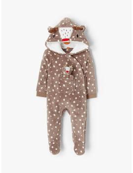 John Lewis & Partners Baby Reindeer Onesie And Toy Reindeer, Brown by John Lewis & Partners