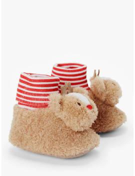 John Lewis & Partners Baby Reindeer Rattle Sock Bootie, Brown/Red by John Lewis & Partners