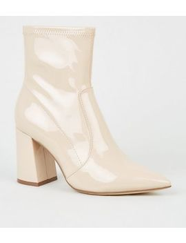 Cream Patent Pointed Block Heel Boots by New Look
