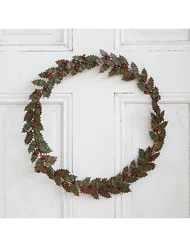 Iron + Bead Holly Berry Wreath by Terrain