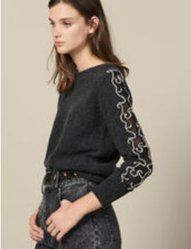 Sweater With Rhinestones And Boat Neck by Sandro Eshop