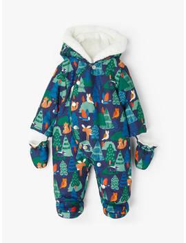 John Lewis & Partners Baby Woodland Print Snowsuit, Blue by John Lewis & Partners