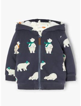 John Lewis & Partners Baby Polar Bear Hoodie, Navy by John Lewis & Partners