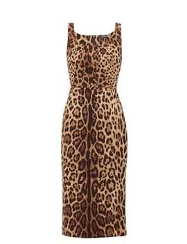 Leopard Print Silk Blend Crepe Midi Dress by Dolce & Gabbana