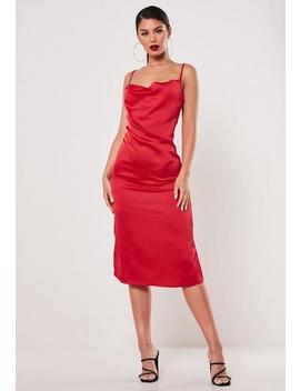 Red Satin Cowl Cami Slip Midi Dress by Missguided