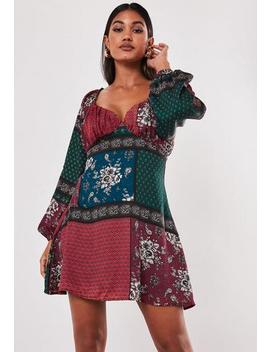 Burgundy Scarf Print Satin Milkmaid Mini Dress by Missguided