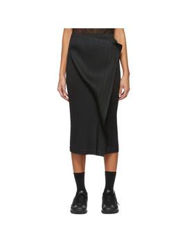 Black Wrap Panel Skirt by Pleats Please Issey Miyake