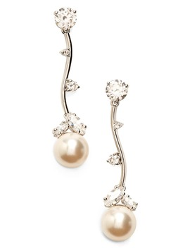 Imitation Pearl Linear Drop Earrings by Nadri