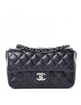 Chanel Metallic Lambskin Quilted Mini Rectangular Flap Navy by Chanel
