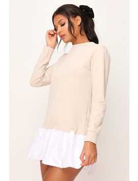 Stone Poplin Frill Hem Sweater Dress by I Saw It First