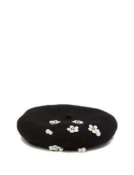 Embroidered Floral Wool Beret by David & Young