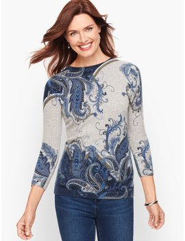 Cashmere Audrey Sweater   Feather Paisley by Talbots