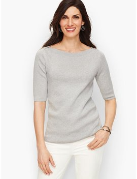 Bateau Neck Sweater Topper   Shimmer by Talbots