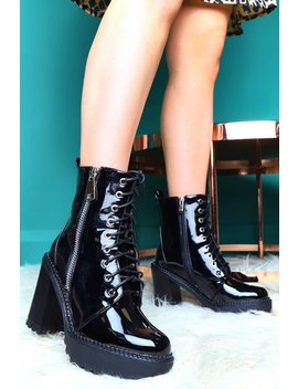 Black Patent Lace Up Heeled Boots   Faelyn by Rebellious Fashion