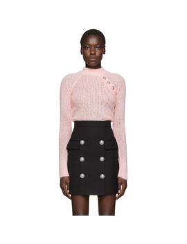 Pink Mohair Crewneck Sweater by Balmain