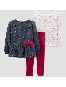 Toddler Girls' 3pc Plum Bow Tunic Top & Bottom Sets   Just One You® Made By Carter's Gray/Red/White by Just One You Made By Carter's