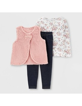 Toddler Girls' 3pc Sherpa Vest Floral Top & Bottom Set   Just One You® Made By Carter's Peach/White/Blue by Just One You Made By Carter's