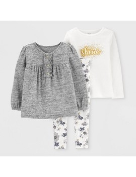 Toddler Girls' 3pc Floral Glitter Tunic Top & Bottom Set   Just One You® Made By Carter's Gray/Cream by Just One You Made By Carter's