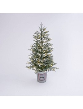 4ft Lit Holiday Flocked Half Tree In Half Bucket Decorative Figurine   Gerson International by Gerson International