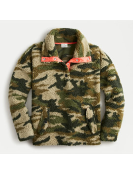 Snapcollar Sherpa Fleece Sweatshirt In Camo by J.Crew