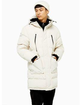 Stone Longline Puffer Jacket by Topman