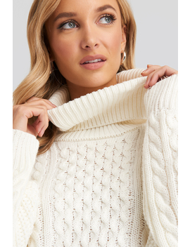 High Neck Cable Knitted Sweater White by Na Kd