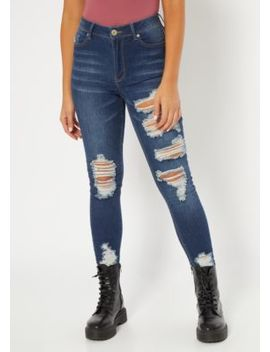 Dark Wash Distressed Mid Rise Jeggings by Rue21