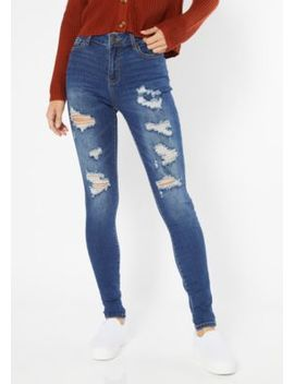 Dark Wash Distressed Mid Rise Skinny Jeans by Rue21