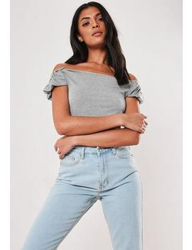 Grey Bardot Puff Sleeve Crop Top by Missguided