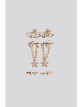 3 Pack Mini Star Earrings Gold by Na Kd Accessories