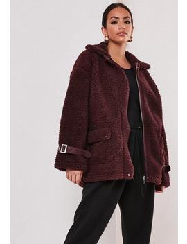 Red Borg Teddy Chunky Aviator Coat by Missguided