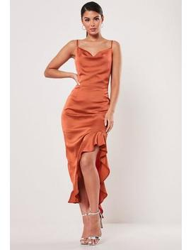 Rust Ruffle Side Slip Cami Dress by Missguided