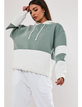 Green Colour Block Slogan Essentials Hoodie by Missguided