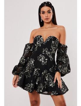 Black Floral Applique Bardot Mini Dress by Missguided